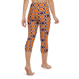 Capri Yoga Pants & High Waist Leggings - Orange Honey Comb | TopGurl Workout Printed Activewear Athleisure - TOPGURL