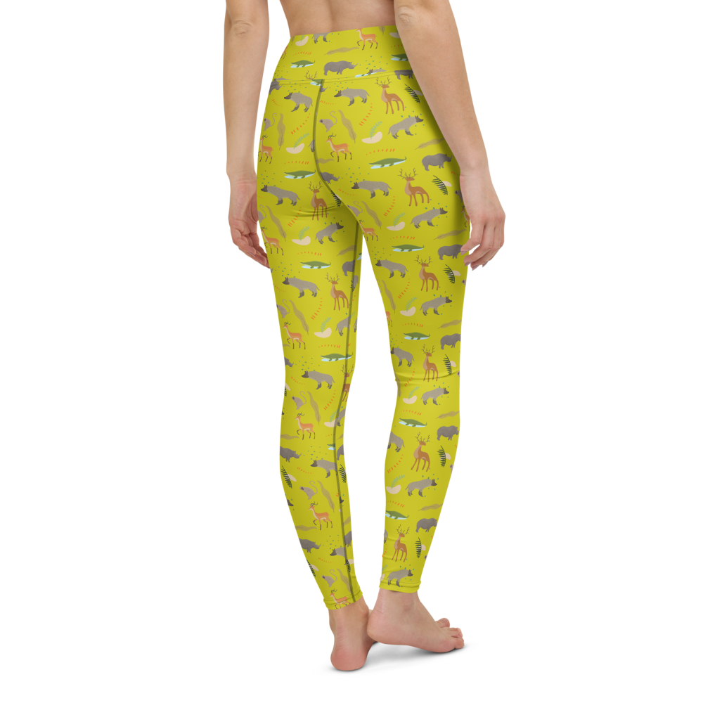 Yoga Pants & High Waist Leggings - Safari Style Lemon | TopGurl Workout Printed Activewear Athleisure - TOPGURL