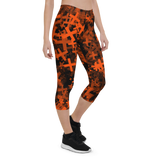 Capri Leggings & Activewear - Neon Orange Crosses | TopGurl Printed Athleisure - TOPGURL