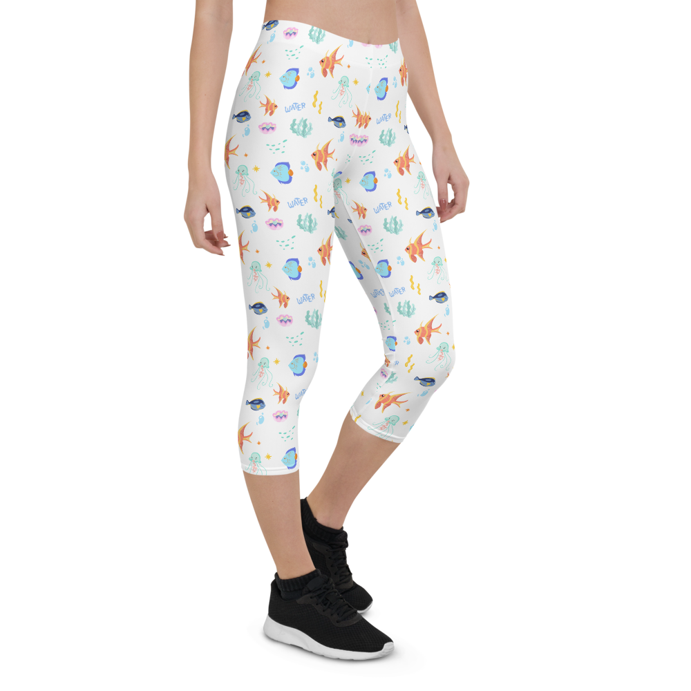 Capri Leggings & Activewear - Sea Life | TopGurl Printed Athleisure - TOPGURL