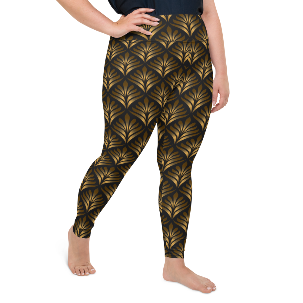 Plus Size Leggings & Yoga Pants - Gold Flourish | TopGurl High Waist Workout Printed Activewear Athleisure - TOPGURL