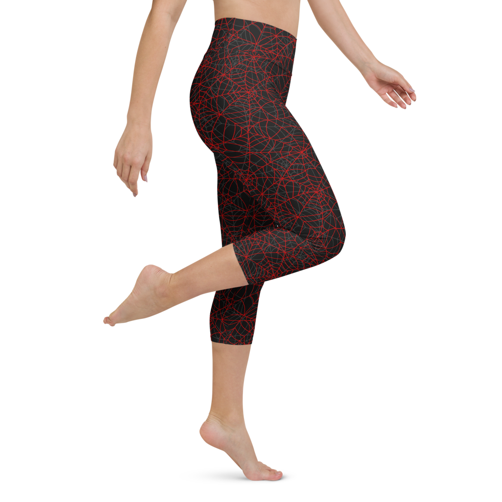 Capri Yoga Pants & High Waist Leggings - Spider Web | TopGurl Workout Printed Activewear Athleisure - TOPGURL