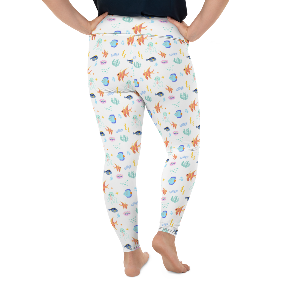 Plus Size Leggings & Yoga Pants - Sea Life | TopGurl High Waist Workout Printed Activewear Athleisure - TOPGURL