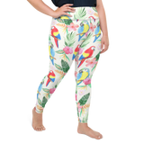 Plus Size Leggings & Yoga Pants - Parakeets In Paradise | TopGurl High Waist Workout Printed Activewear Athleisure - TOPGURL