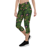 Capri Leggings & Activewear - Floral Palm Leaves | TopGurl Printed Athleisure - TOPGURL