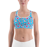 Sports Bra - Butterflies and Lillies | Activewear | TopGurl Printed Athleisure - TOPGURL