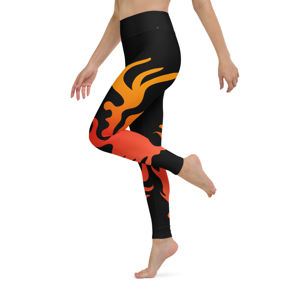 Yoga Pants & High Waist Leggings - Flames | TopGurl Workout Printed Activewear Athleisure - TOPGURL