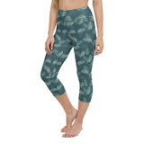 Capri Yoga Pants & High Waist Leggings - Army Camo Feather | TopGurl Workout Printed Activewear Athleisure - TOPGURL