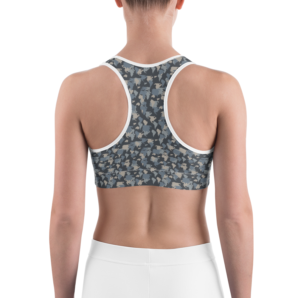 Sports Bra - Army Camo Continents | Activewear | TopGurl Printed Athleisure - TOPGURL