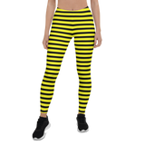 Womens Leggings & Activewear - Black & Yellow Stripes | TopGurl Printed Athleisure - TOPGURL