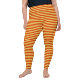 Plus Size Leggings & Yoga Pants - Orange & Yellow Stripe | TopGurl High Waist Workout Printed Activewear Athleisure - TOPGURL
