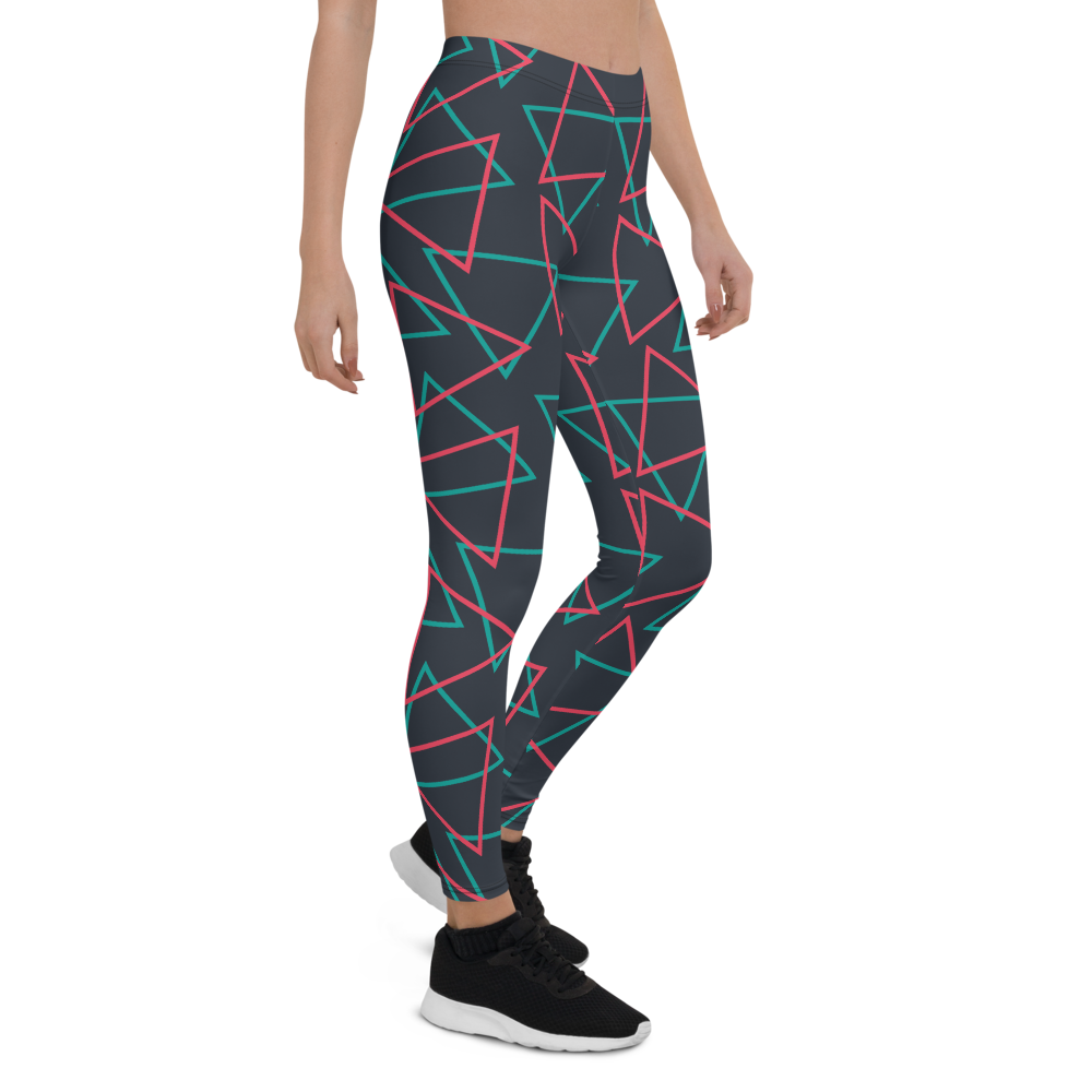 Womens Leggings & Activewear - Neon Triangles | TopGurl Printed Athleisure - TOPGURL