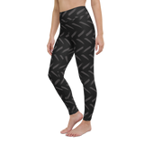 Yoga Pants & High Waist Leggings - Gray On Black Strokes | TopGurl Workout Printed Activewear Athleisure - TOPGURL