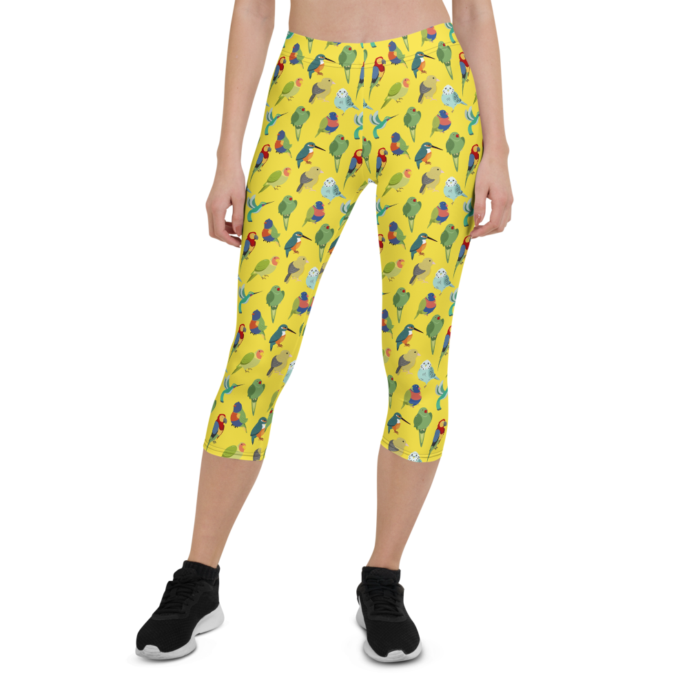 Capri Leggings & Activewear - Birds Of All Feathers Yellow | TopGurl Printed Athleisure - TOPGURL