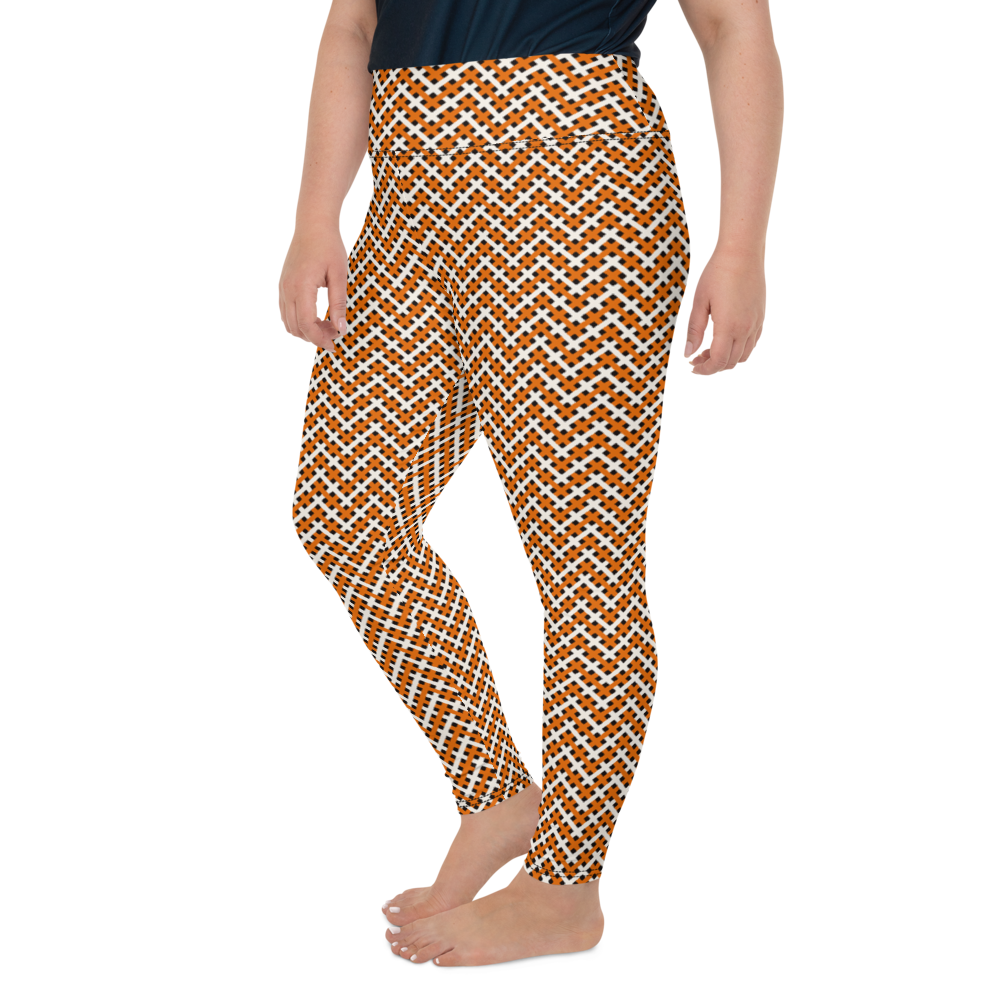 Plus Size Leggings & Yoga Pants - Orange & White Pattern | TopGurl High Waist Workout Printed Activewear Athleisure - TOPGURL