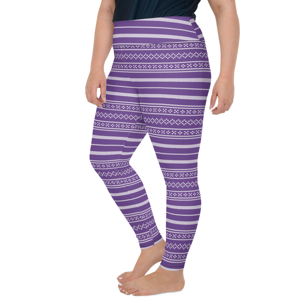 Plus Size Leggings & Yoga Pants - Purple Knit Pattern | TopGurl High Waist Workout Printed Activewear Athleisure - TOPGURL