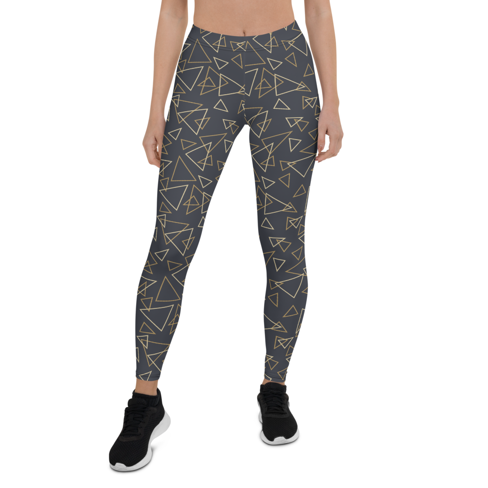 Womens Leggings & Activewear - Triangles on Black | TopGurl Printed Athleisure - TOPGURL