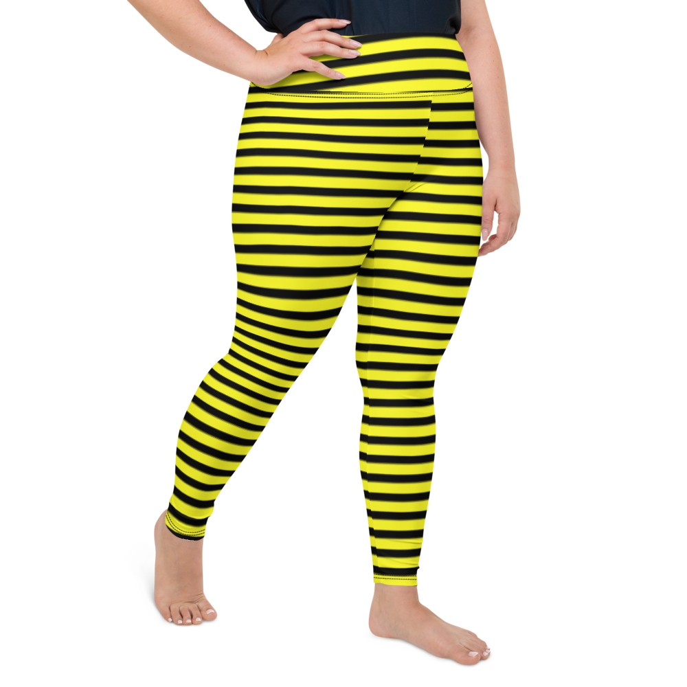 Plus Size Leggings & Yoga Pants - Black & Yellow Stripes | TopGurl High Waist Workout Printed Activewear Athleisure - TOPGURL