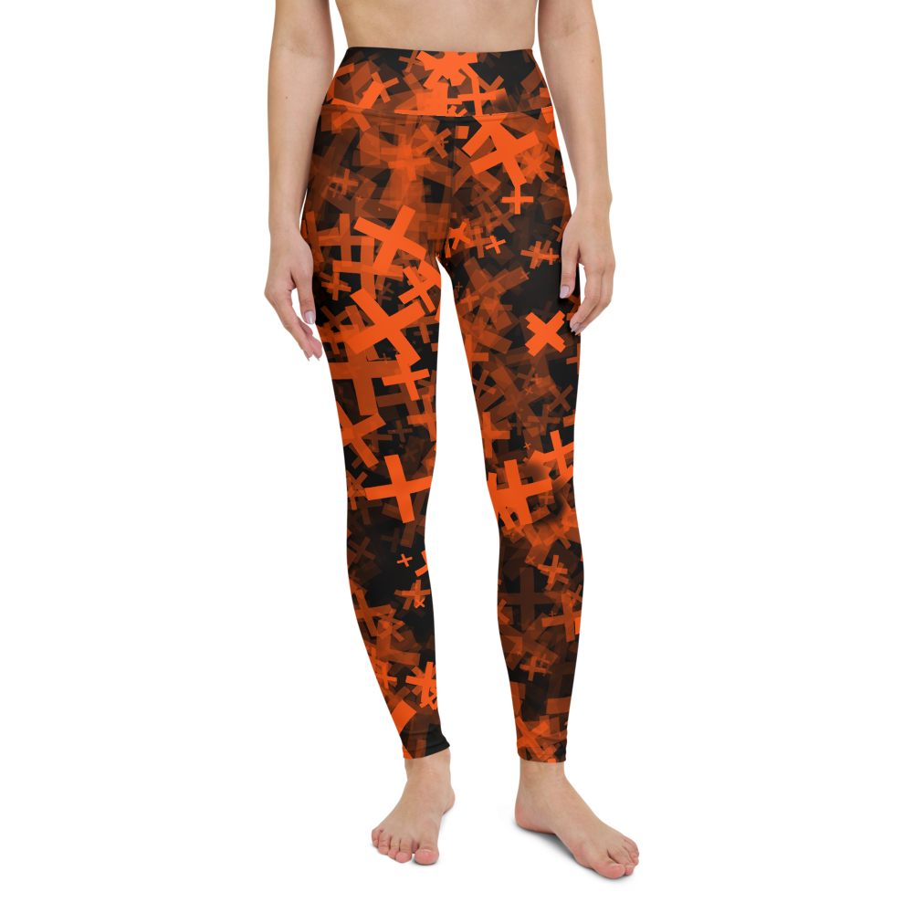 Yoga Pants & High Waist Leggings - Neon Orange Crosses | TopGurl Workout Printed Activewear Athleisure - TOPGURL