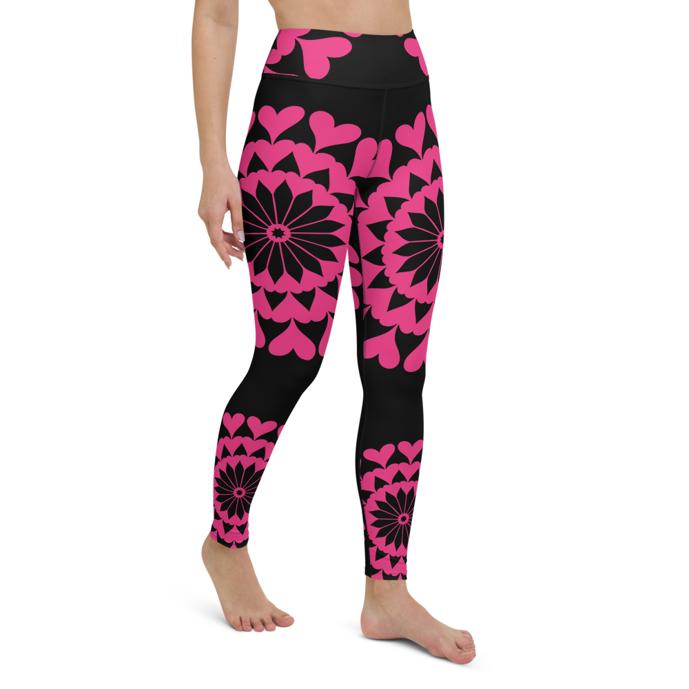 Yoga Pants & High Waist Leggings - Heart Mandala | TopGurl Workout Printed Activewear Athleisure - TOPGURL