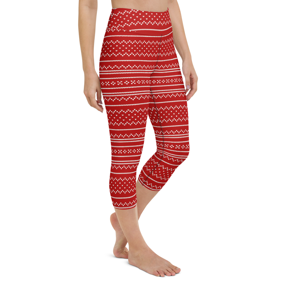 Capri Yoga Pants & High Waist Leggings - Red Knit Pattern | TopGurl Workout Printed Activewear Athleisure - TOPGURL