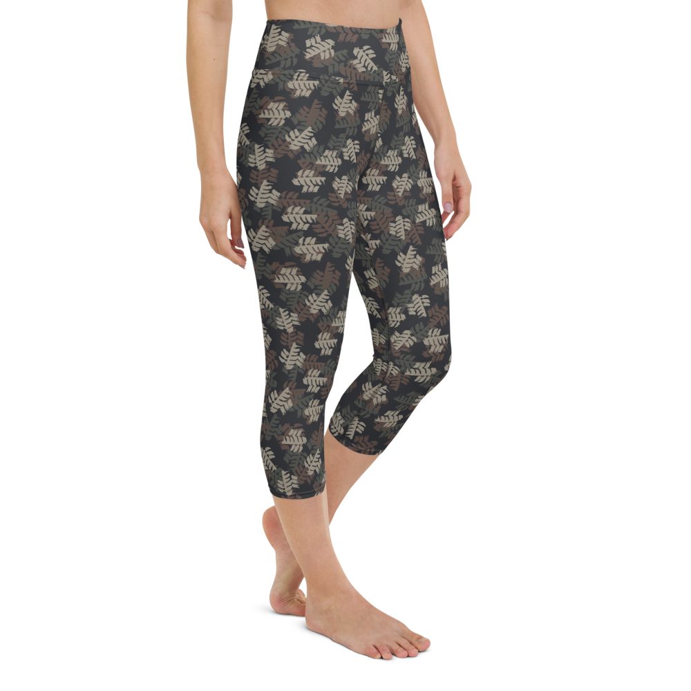 Capri Yoga Pants & High Waist Leggings - Army Camo Leaves | TopGurl Workout Printed Activewear Athleisure - TOPGURL