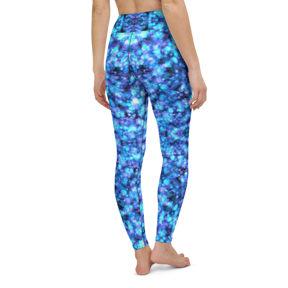 Yoga Pants & High Waist Leggings - Neon Blue Galaxy | TopGurl Workout Printed Activewear Athleisure - TOPGURL