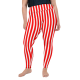 Plus Size Leggings & Yoga Pants - Red & White Vertical Stripes | TopGurl High Waist Workout Printed Activewear Athleisure - TOPGURL