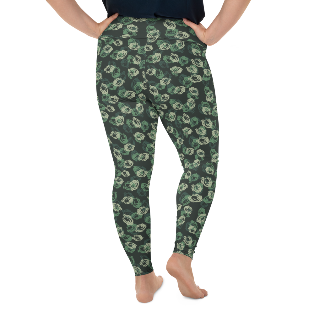 Plus Size Leggings & Yoga Pants - Army Camo Roses | TopGurl High Waist Workout Printed Activewear Athleisure - TOPGURL