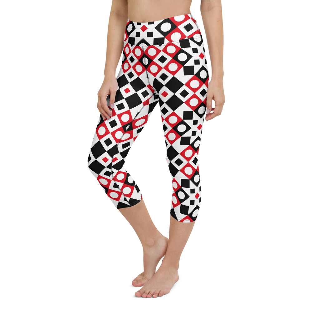 Capri Yoga Pants & High Waist Leggings - Squares And Circles | TopGurl Workout Printed Activewear Athleisure - TOPGURL