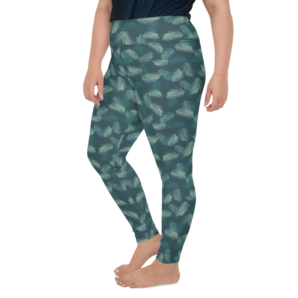 Plus Size Leggings & Yoga Pants - Army Camo Feather | TopGurl High Waist Workout Printed Activewear Athleisure - TOPGURL