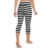 Capri Yoga Pants & High Waist Leggings - Black & White Stripes | TopGurl Workout Printed Activewear Athleisure - TOPGURL