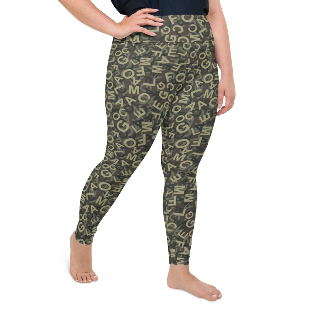 Plus Size Leggings & Yoga Pants - Army Camo Alphabet | TopGurl High Waist Workout Printed Activewear Athleisure - TOPGURL