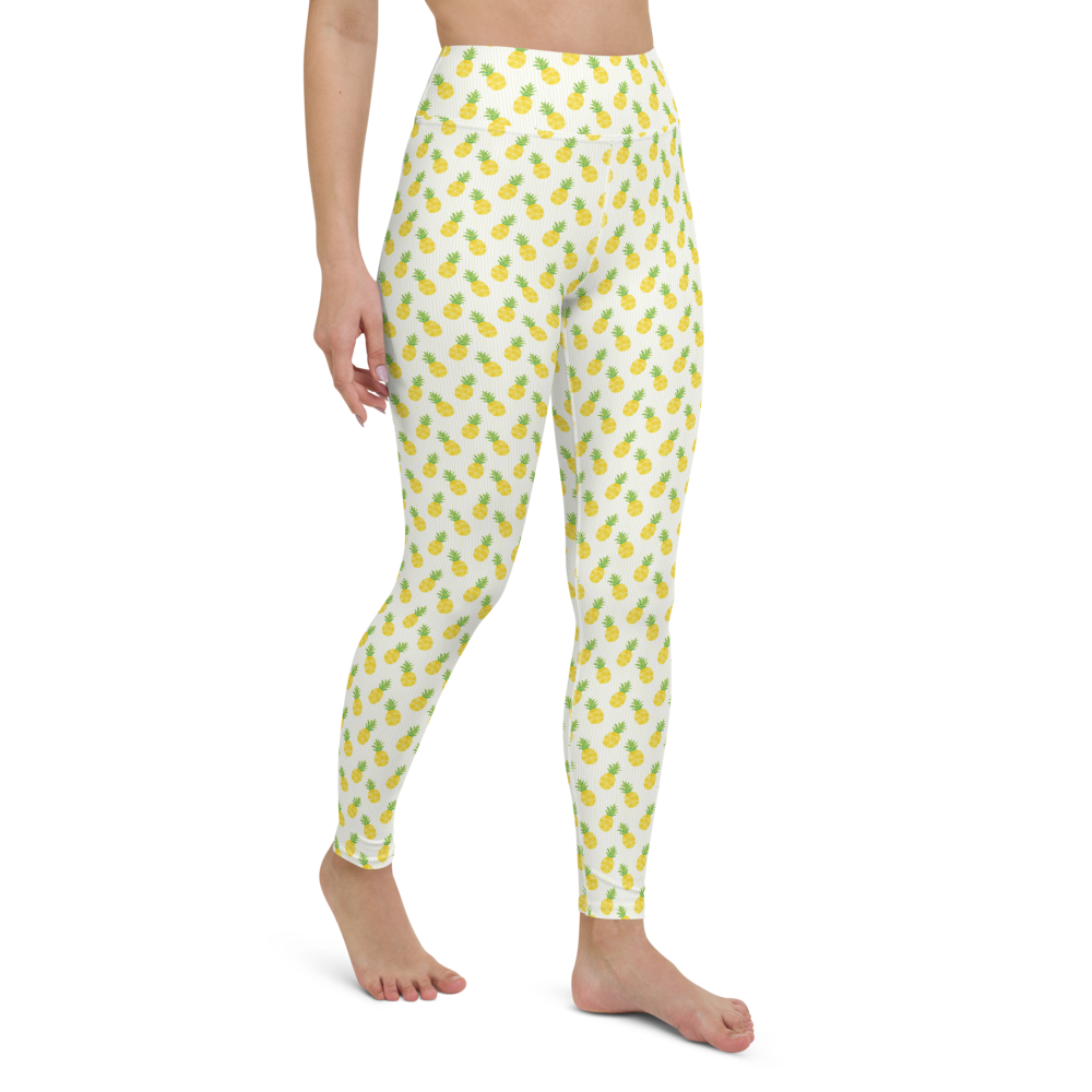 Yoga Pants & High Waist Leggings - Pineapple Field | TopGurl Workout Printed Activewear Athleisure - TOPGURL
