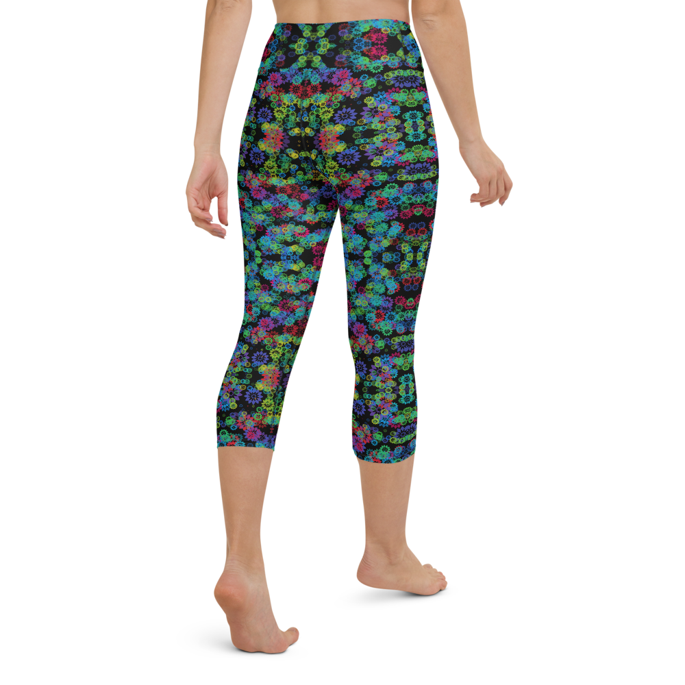 Capri Yoga Pants & High Waist Leggings - Psychedelic Garden 2 | TopGurl Workout Printed Activewear Athleisure - TOPGURL