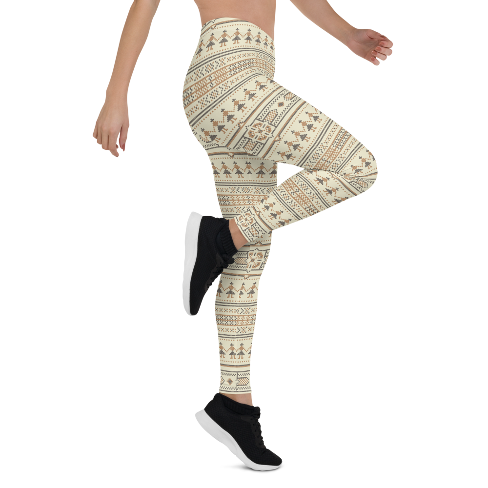 Womens Leggings & Activewear - Ethnic Cream | TopGurl Printed Athleisure - TOPGURL