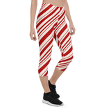 Capri Leggings & Activewear - Red Stripes | TopGurl Printed Athleisure - TOPGURL