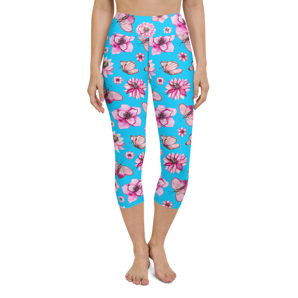 Capri Yoga Pants & High Waist Leggings - Butterflies Floral | TopGurl Workout Printed Activewear Athleisure - TOPGURL