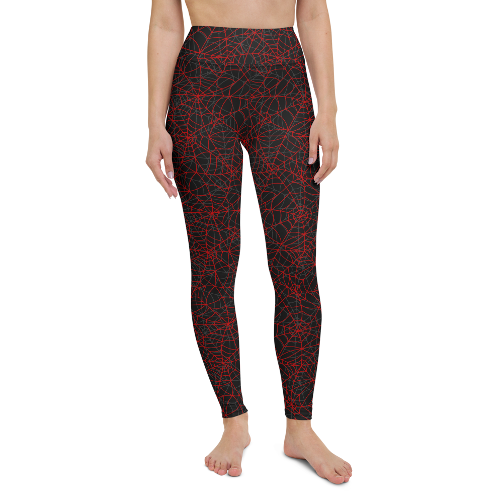 Yoga Pants & High Waist Leggings - Spider Web | TopGurl Workout Printed Activewear Athleisure - TOPGURL