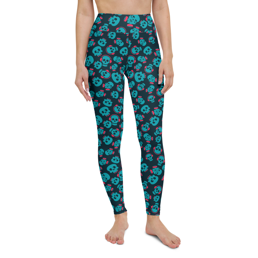 Yoga Pants & High Waist Leggings - Neon Blue Skulls | TopGurl Workout Printed Activewear Athleisure - TOPGURL