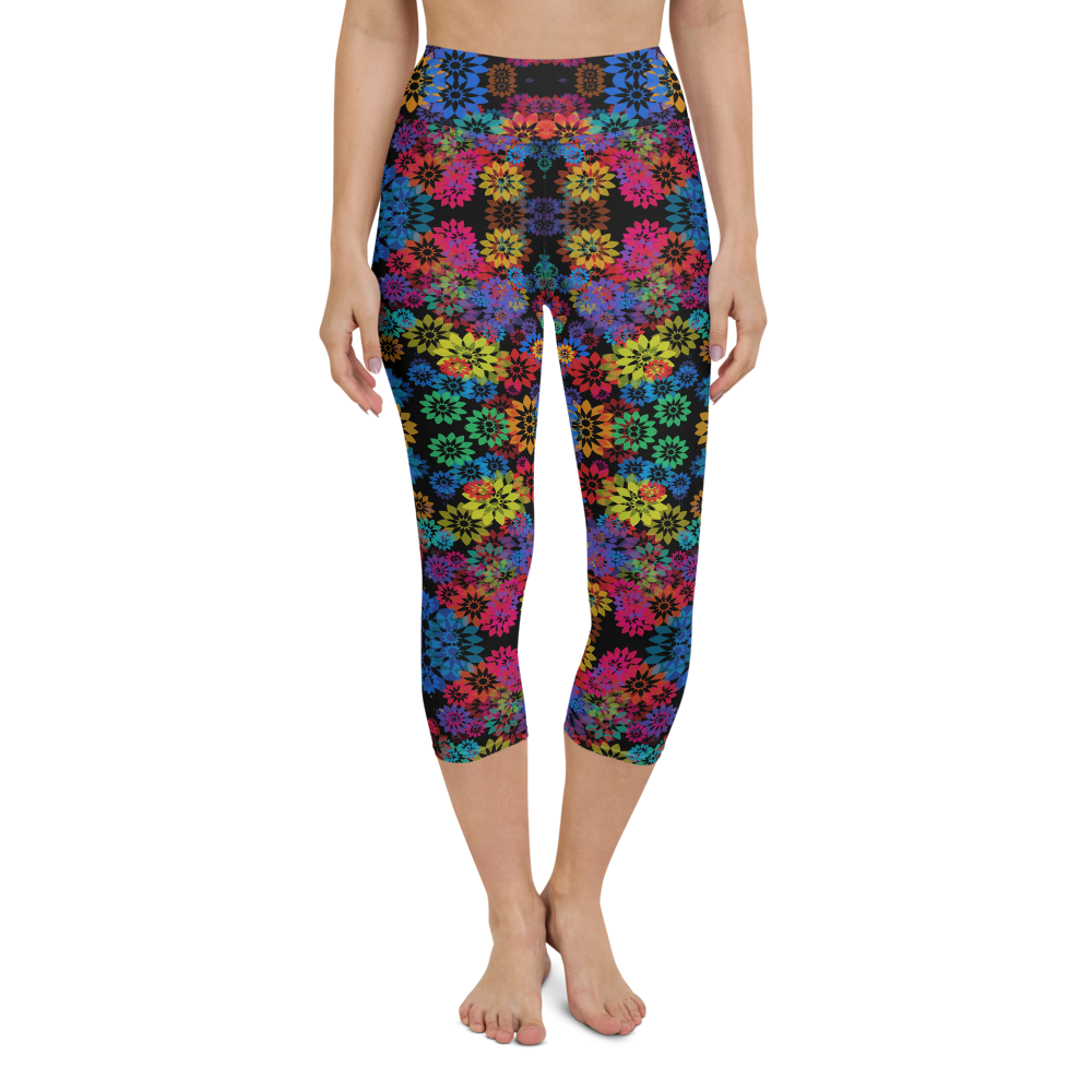 Capri Yoga Pants & High Waist Leggings - Psychedelic Garden 1 | TopGurl Workout Printed Activewear Athleisure - TOPGURL