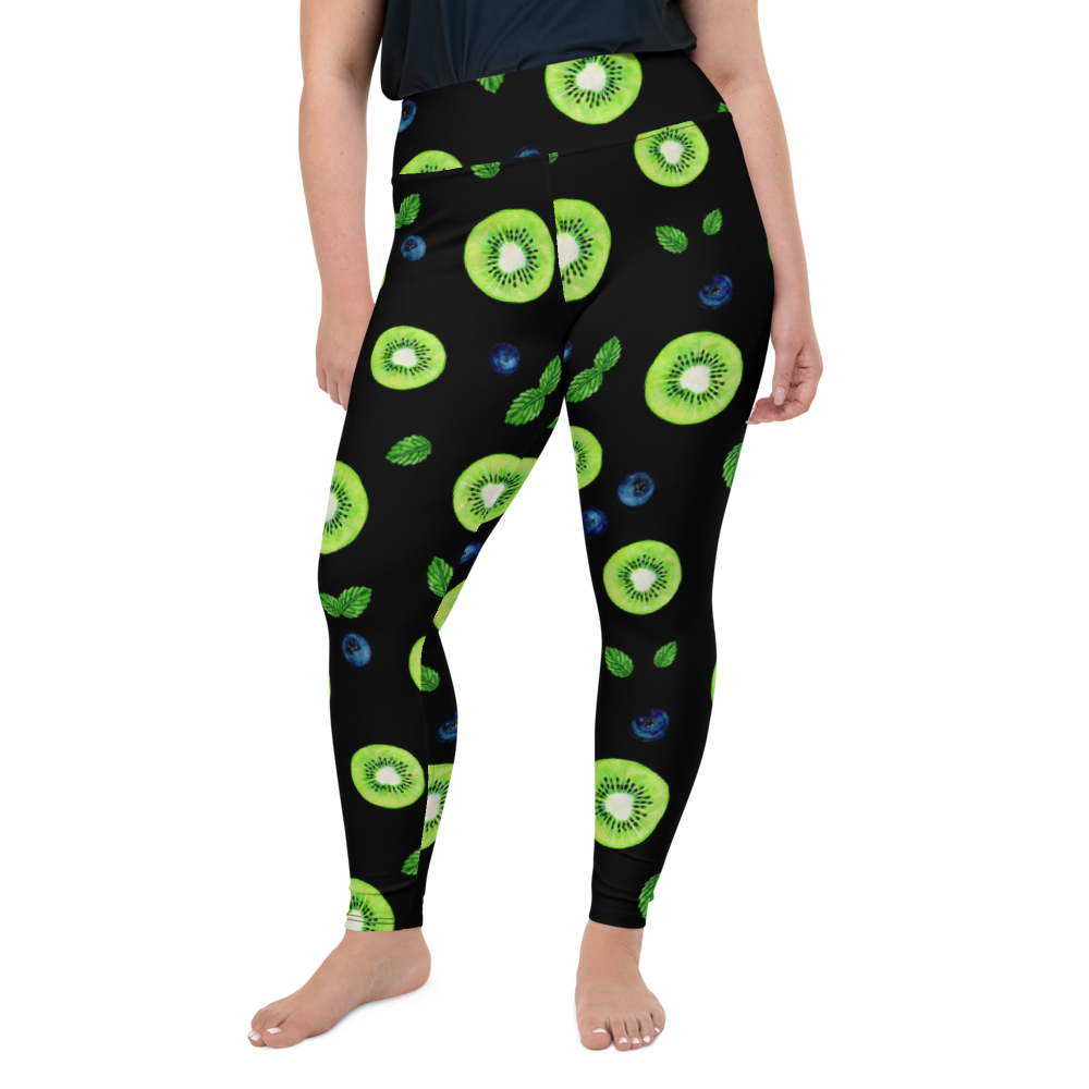 Plus Size Leggings & Yoga Pants - Blue and Green Berry | TopGurl High Waist Workout Printed Activewear Athleisure - TOPGURL