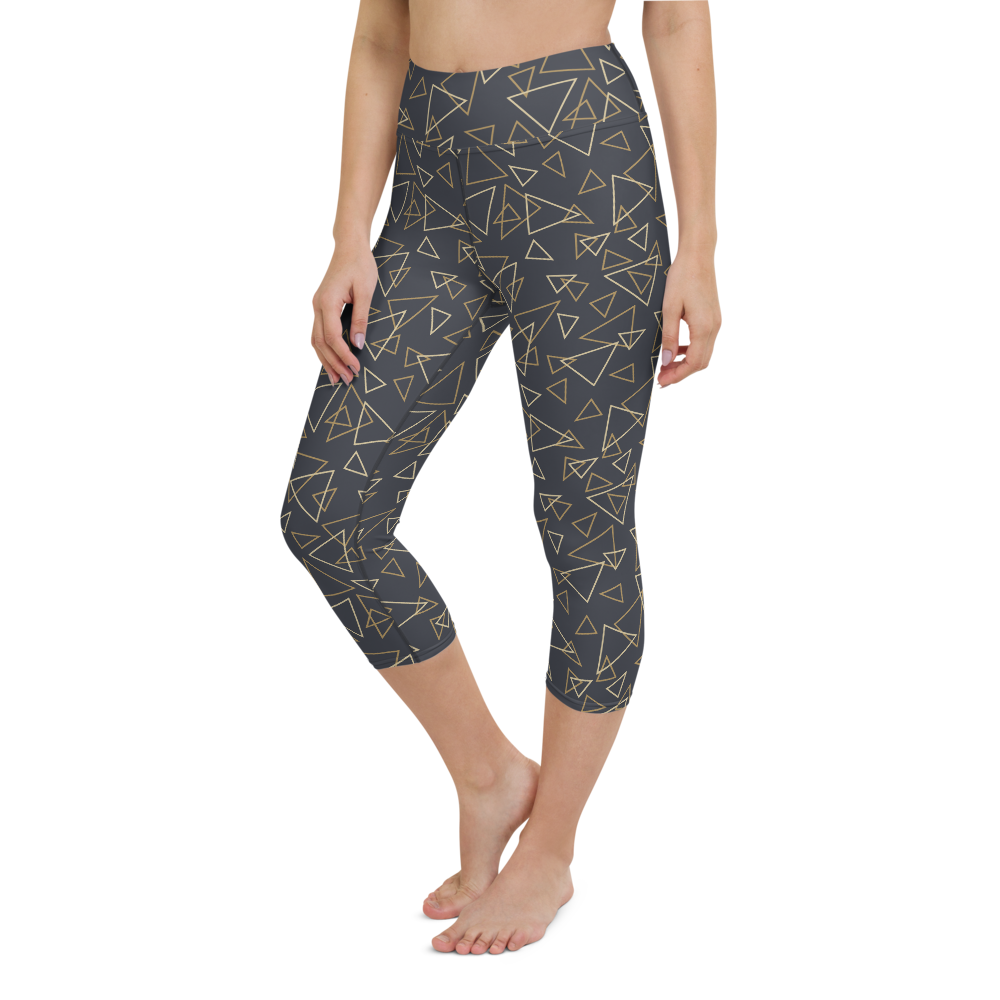 Capri Yoga Pants & High Waist Leggings -Triangles on Black  | TopGurl Workout Printed Activewear Athleisure - TOPGURL