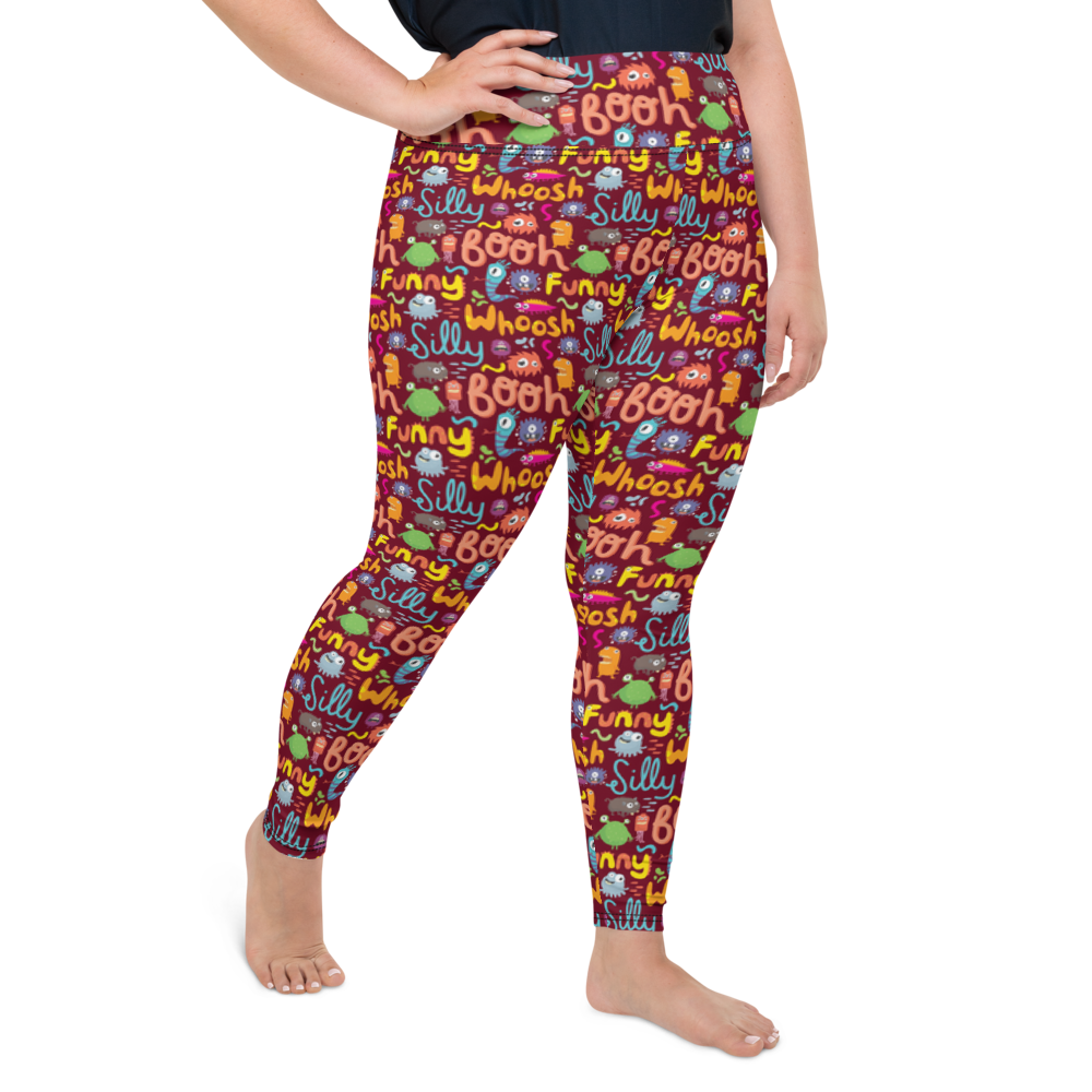 Plus Size Leggings & Yoga Pants - Monster World 2 | TopGurl High Waist Workout Printed Activewear Athleisure - TOPGURL