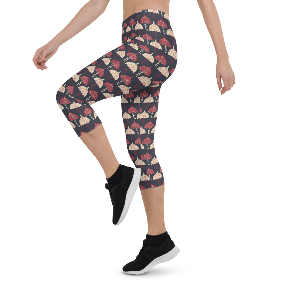Capri Leggings & Activewear - Umbrellas 2 | TopGurl Printed Athleisure - TOPGURL