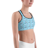 Sports Bra - Birds Of All Feathers Teal | Activewear | TopGurl Printed Athleisure - TOPGURL