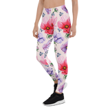 Womens Leggings & Activewear - Red & Blue Floral | TopGurl Printed Athleisure - TOPGURL