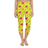 Capri Yoga Pants & High Waist Leggings - Yellow Daisies | TopGurl Workout Printed Activewear Athleisure - TOPGURL
