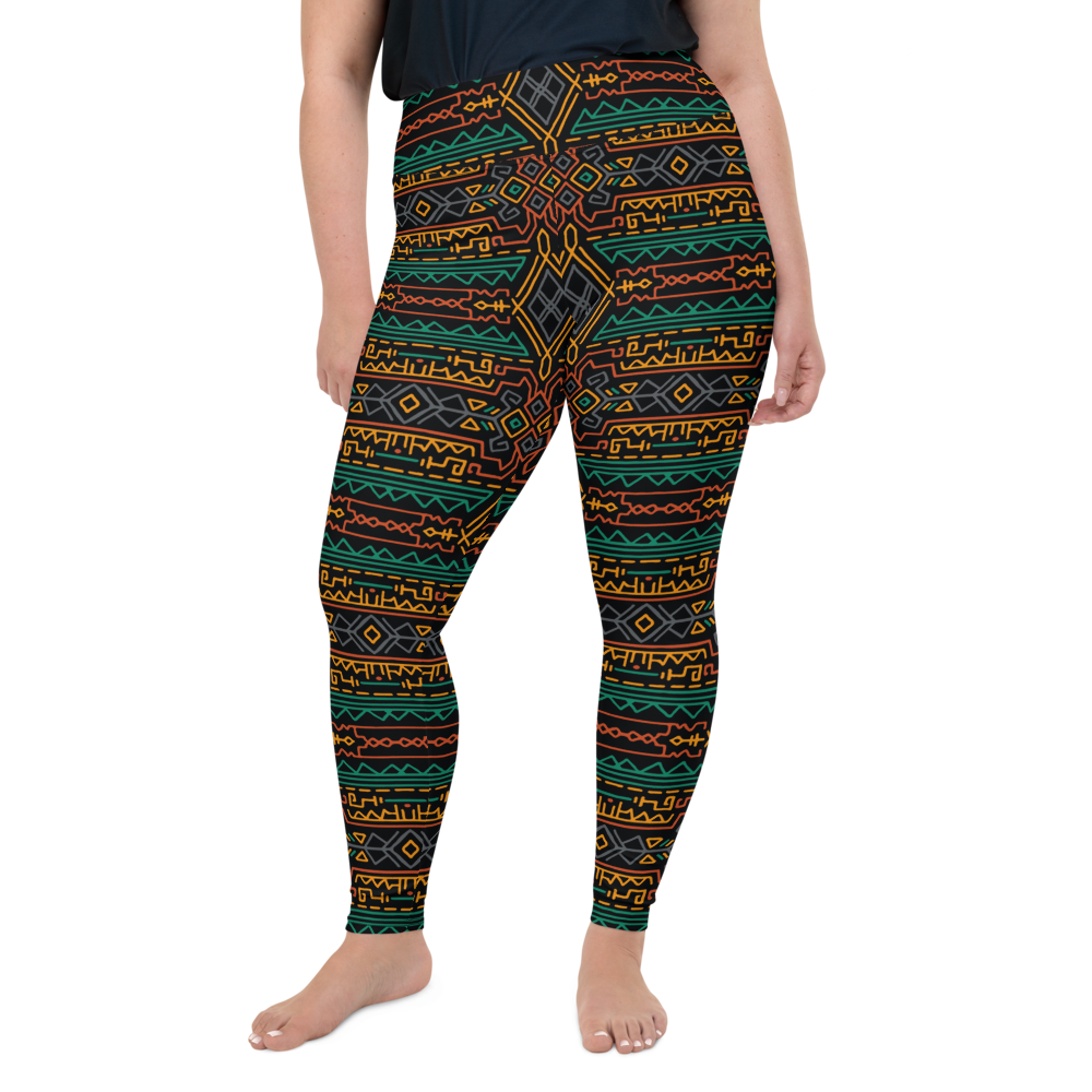 Plus Size Leggings & Yoga Pants - Aztec Tribal Pattern | TopGurl High Waist Workout Printed Activewear Athleisure - TOPGURL
