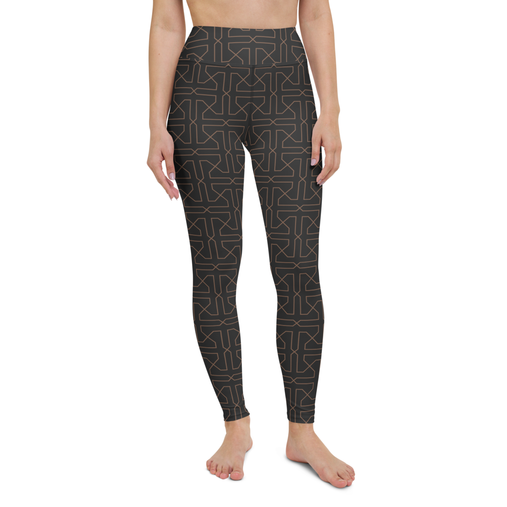 Yoga Pants & High Waist Leggings - Brown Maze | TopGurl Workout Printed Activewear Athleisure - TOPGURL